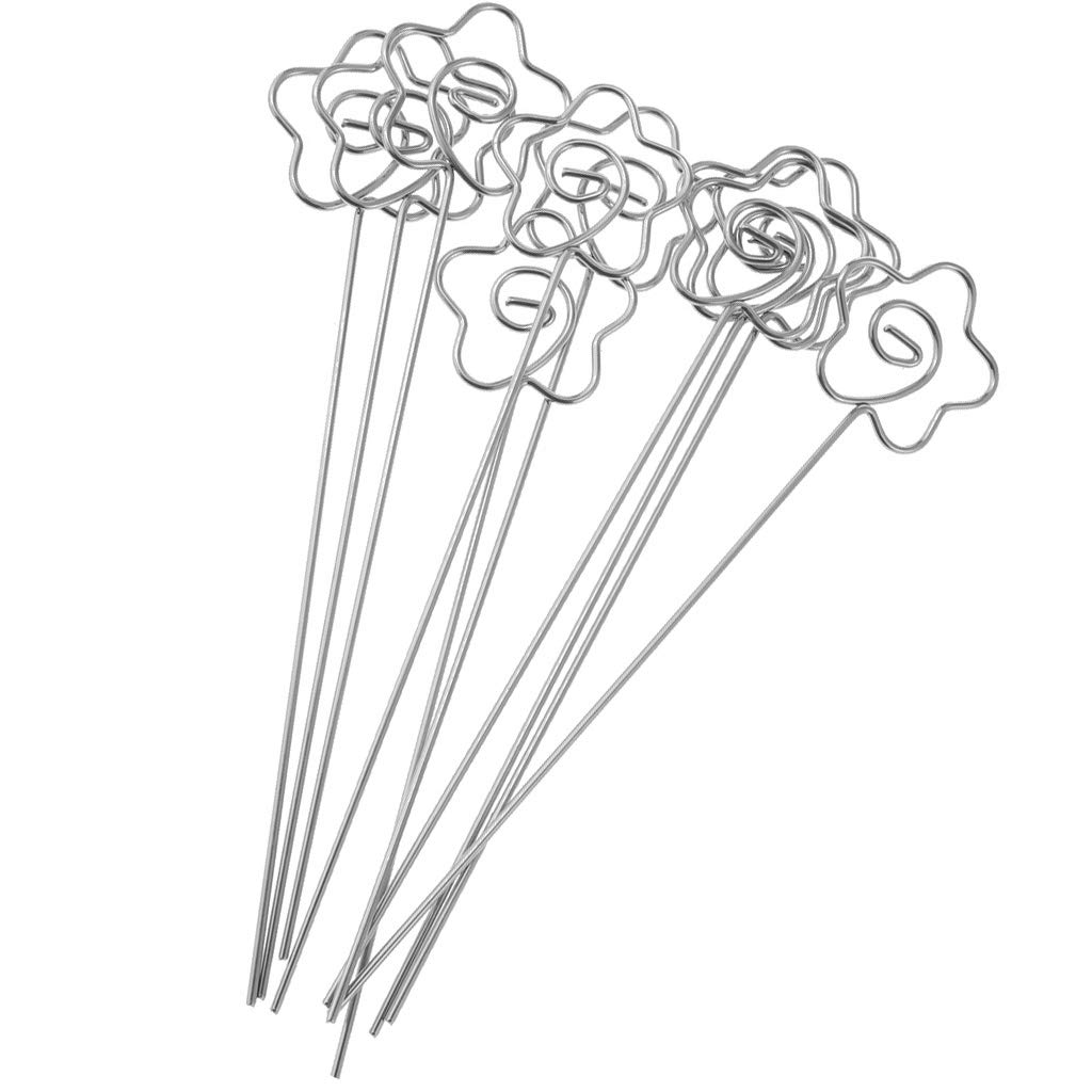 Baosity Heart/Flower /Round/Star Shape Carbon Steel Wire Assorted Shapes Photo Clip Holders Memo Name Card Holders - Flower Shape 120x25mm