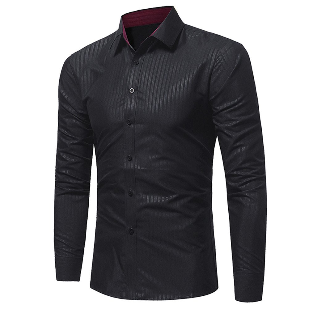 HTDBKDBK Tops T-Shirt for Man Men Shirt Fashion Solid Color Stripe Male Casual Long Sleeve Shirt Top Blouse