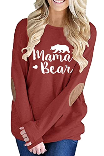 Pink Queen Womens Wine Red Long Sleeve Mother Bear Printing Blouse Top Ruby S