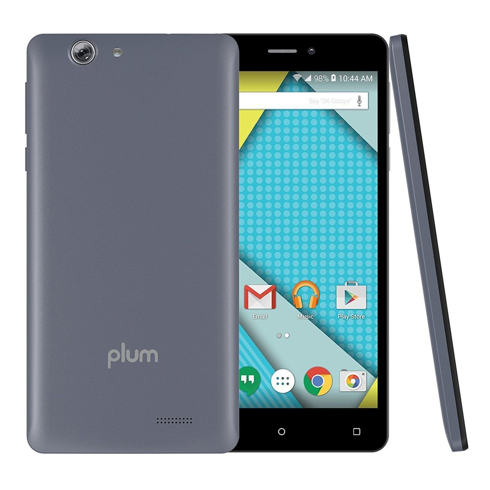 Plum Phantom - Unlocked Phone 4G GSM 6'' HD Display 16 GB Memory 16MP+8MP Dual Camera Android 6.0 - Gray (U.S. Warranty)