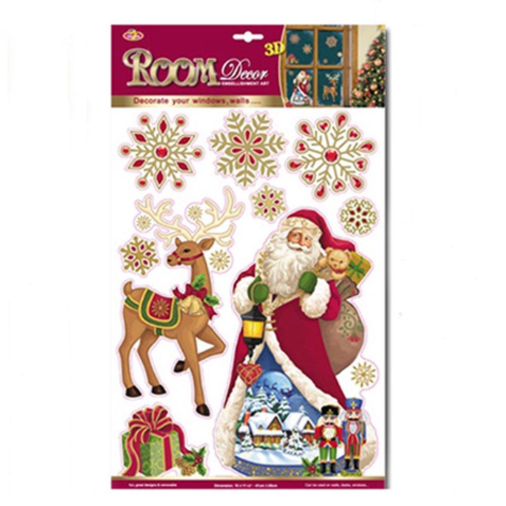 Quasimoon PaperLanternStore.com 3-D Pop-Up Christmas Santa Claus Sticker Sheet Window/Room Decoration