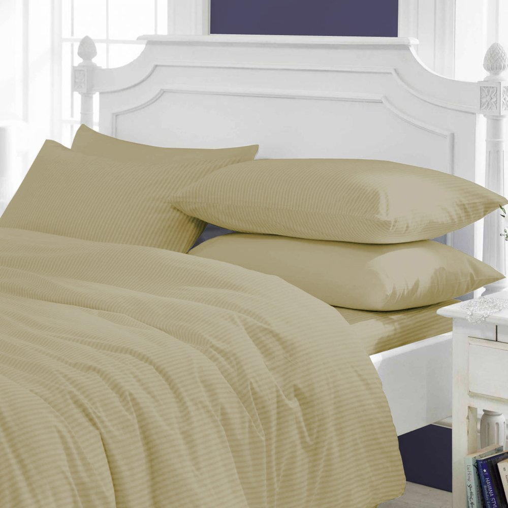 US Furnishing Comfy SPA LIKE FEEL SUPER FLUFFY Egyptian Cotton Made in USA 3-Piece Duvet Cover Set 400 TC Stripe (King, Taupe)