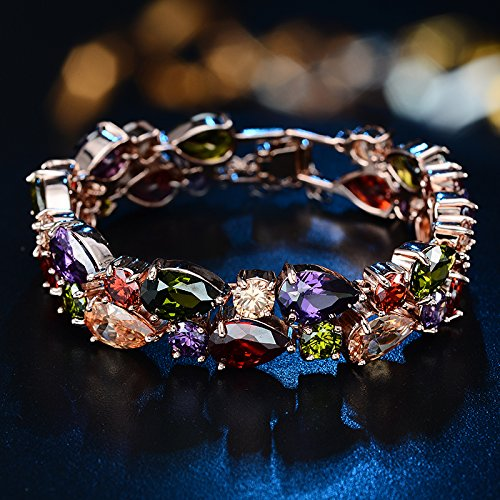 Womans 18ct Rose Gold Plated multi coloured Crystal Quartz stones Bangle Bracelet Made With Swarovski Elements (19 CM) eG6QsY