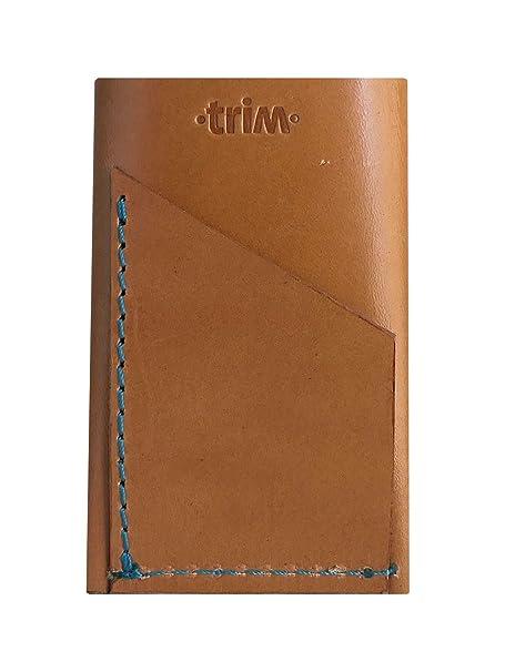 Cartera delgada de cuero ·trim· Triple Miel - Cosido azul. Tarjetero billetero minimalista