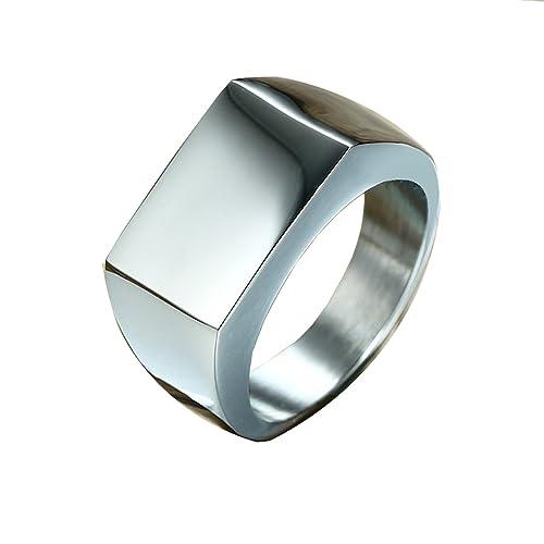 Amazon.com: Para hombre anillos, anillos Signet de acero ...