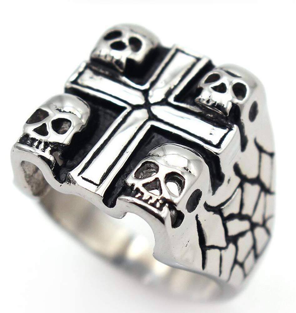 TEMEGO Jewelry Mens Stainless Steel Ring, Vintage Gothic Cross Skull Wing Band, Black Silver by TEMEGO (Image #2)