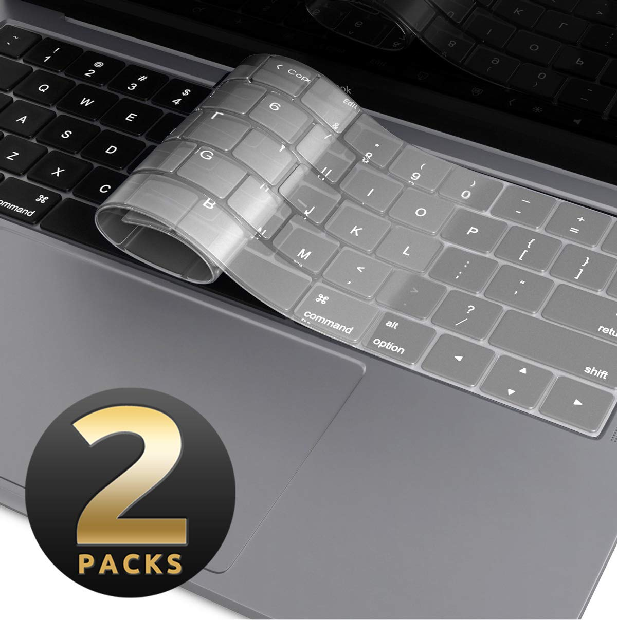 MacBook Air 13 Inch Keyboard Cover [2-Pack], i-Blason Clear Ultra Slim Silicone Keyboard Skin Protector for Apple MacBook Air 13 Inch 2018 Release A1932 ...