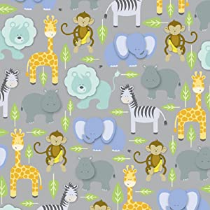 """Safari Zoo Animals Rolled Gift Wrapping Paper - 24"""" x 15'"""