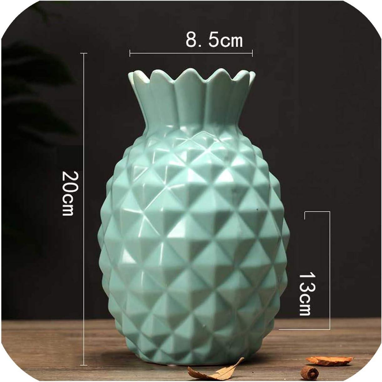 Blue OYJJ Ceramic vase Flower Pot Crafts Creative Ceramic Pineapple Shape Flower Arrangement Home Desk Decoration
