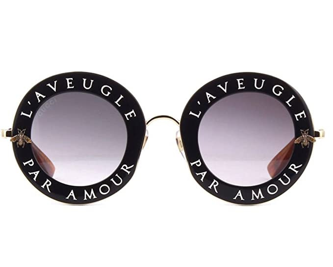 31f9d1cf375 Image Unavailable. Image not available for. Colour  Gucci GG0113S Authentic  Black Gradient Gold Round Sunglasses.