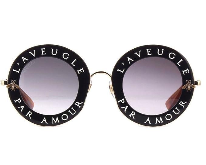 fcc69df929d9 Gucci GG0113S Authentic Black Gradient Gold Round Sunglasses. Color ...