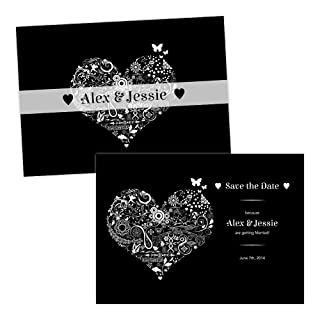 Personalised Save the Date cards FLORAL SWIRL HEART WHITE BLACK FREE DRAFT & FREE ENVELOPES (200, A5 double-sided Pearl or Textured card)