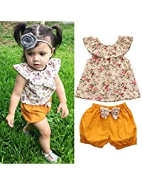 Toddler Kid Baby Girl Summer Clothes Set Floral T Shirt Tops+Shorts 2pcs Outfits 0-3Y