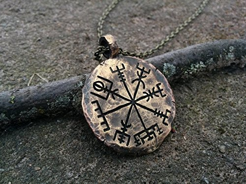 Compass Vegvisir Pendant Hammered Necklace product image