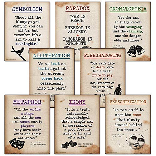 Literary Terms Posters. Discount Classroom Bundle. Fine Art Paper, Laminated, or Framed. Multiple Sizes Available for Home, Office, or School.