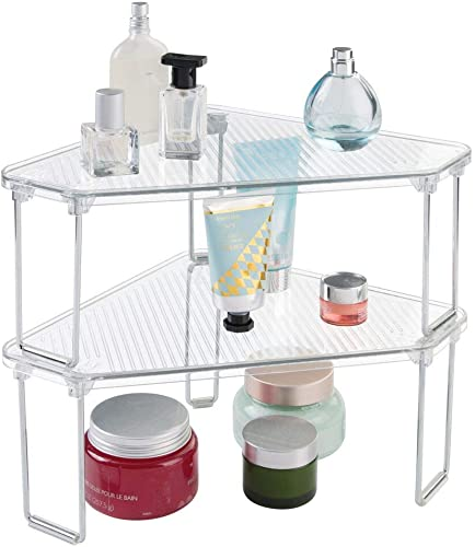 mDesign Corner Plastic Metal Freestanding Stackable Organizer Shelf for Bathroom Vanity Countertop or Cabinet for Storing Cosmetics, Toiletries, Facial Wipes, Tissues, 2 Pack – Clear