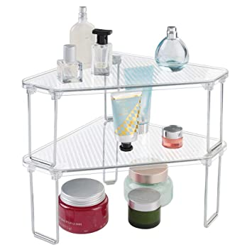 Magnificent Mdesign Corner Plastic Metal Freestanding Stackable Organizer Shelf For Bathroom Vanity Countertop Or Cabinet For Storing Cosmetics Toiletries Home Remodeling Inspirations Genioncuboardxyz