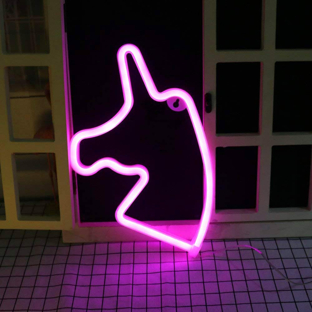Xplanet Unicorn Neon Signs,LED Neon Light Sign Colored Night Light Battery USB Powered Neon Sign Wall for Kids Room Home Party Birthday Bedroom Bedside Table Decoration Children Gifts Festive Party
