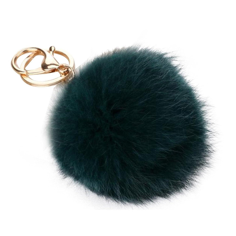 New Keychain Fur Pom Pom Key Chain Faux Pearl Rabbit Fur Hair Bulb Bag Fur Ball Pendant Key Ring For Women Girls Gifts^Keychain A