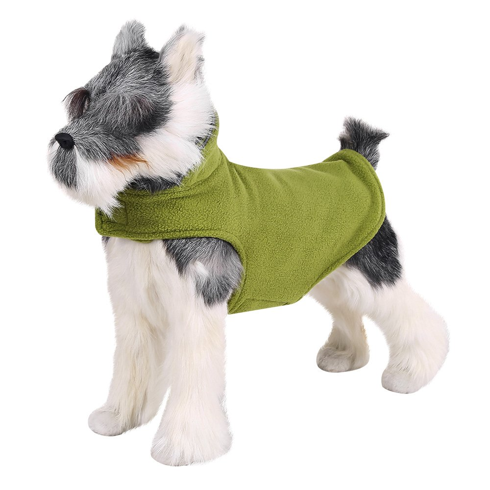 FOREYY Reflective Dog Fleece Coat with Velcro Closure and Leash Attachment Hole - Dogs Pet Autumn Winter Jacket Sweater Vest Apparel Clothes for Small Medium and Large Dogs(Green,XXL)