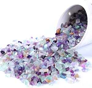 KINGYAO Flourite Crystals 1 lb Tumbled Chips Crushed Quartz Crystal Stone Crystals and Healing Stones Reiki Chakra Stone Making Home Decoration (Flourite)