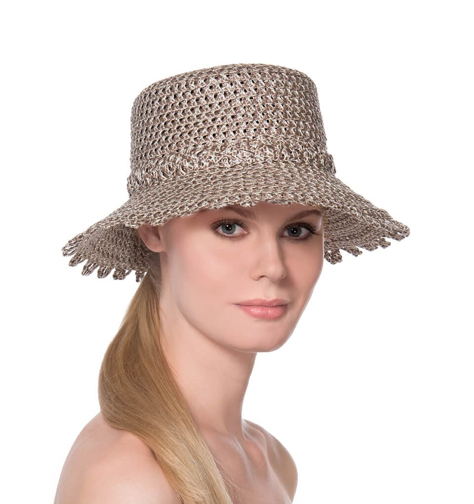 Eric Javits Fashion Designer Women's Headwear Hat - Ibiza - Taupe/Glow