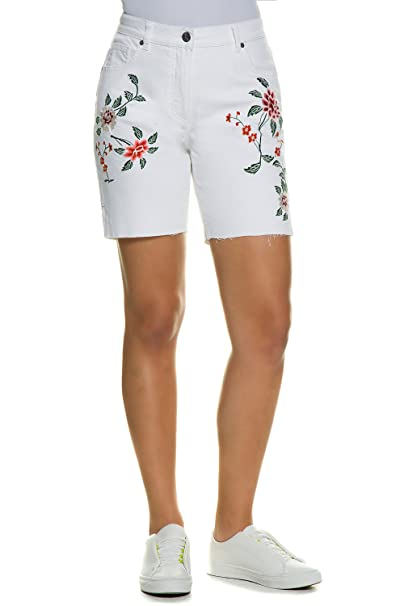 9d93f2bd56 Ulla Popken Women's Plus Size Floral Embroidered Jeans Shorts 710331 at Amazon  Women's Clothing store: