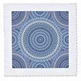3dRose Andrea Haase Art Illustration - Blue Detailed Mandala Pattern Illustration - 25x25 inch quilt square (qs_268243_10)