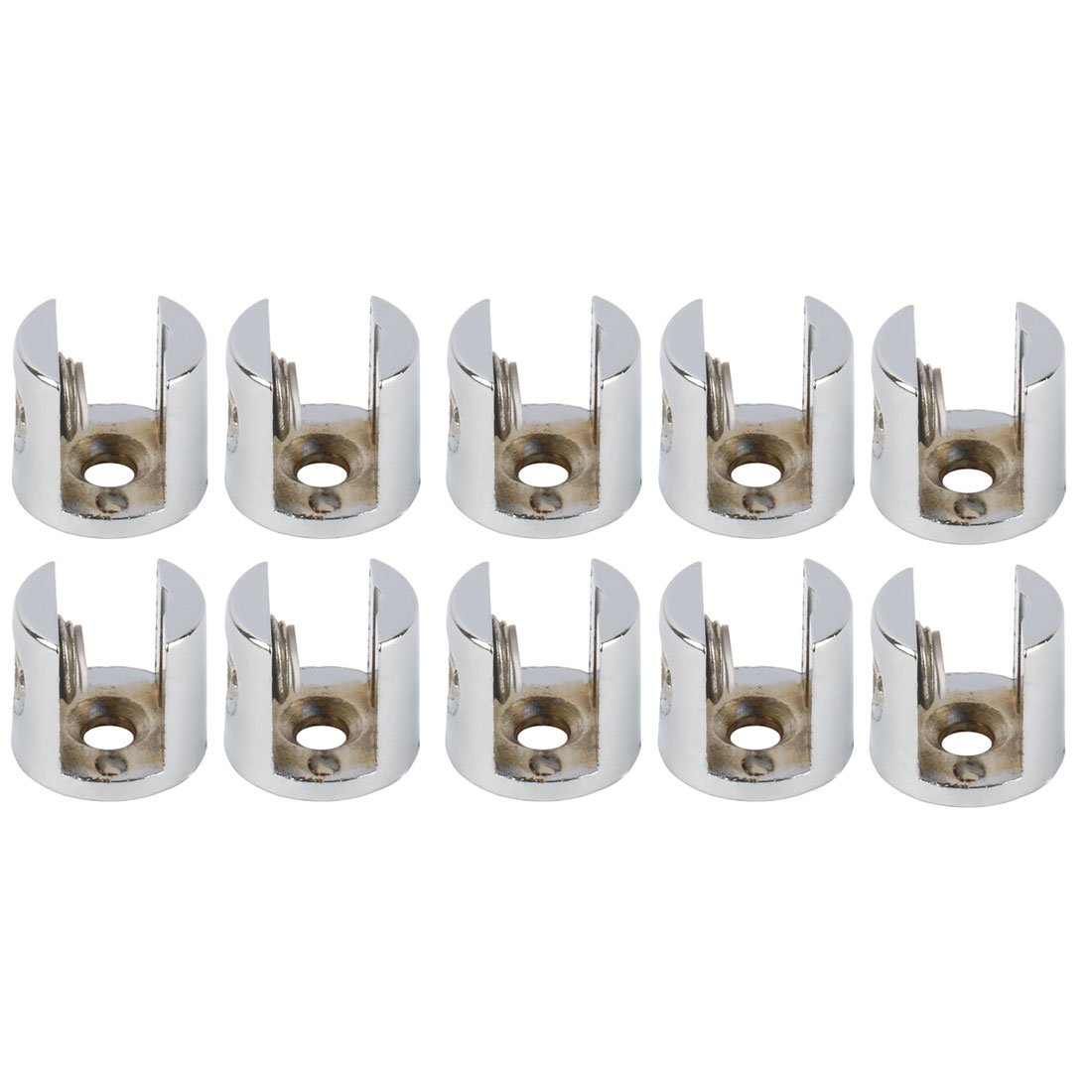 uxcell Zinc Alloy Home Cabinet Door Glass Clamp Brackets Fixing Clips Holder Support 10pcs