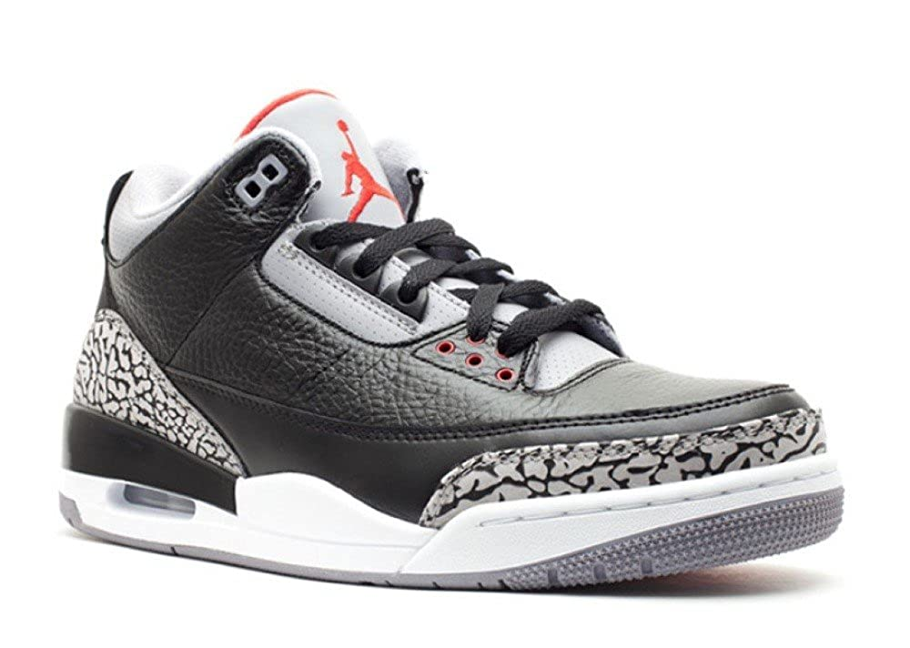new products da23e 4eb9e Amazon.com   Nike Mens Air Jordan 3 Retro Black Varsity Red-Cement Grey  Leather Size 10   Basketball