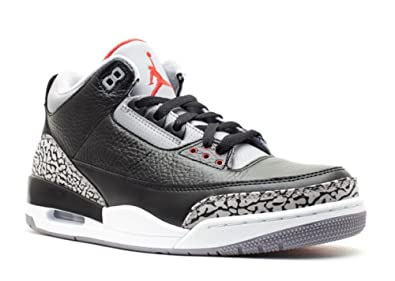 the latest dccb8 b8fea Nike Mens Air Jordan 3 Retro Black/Varsity Red-Cement Grey Leather Size 10