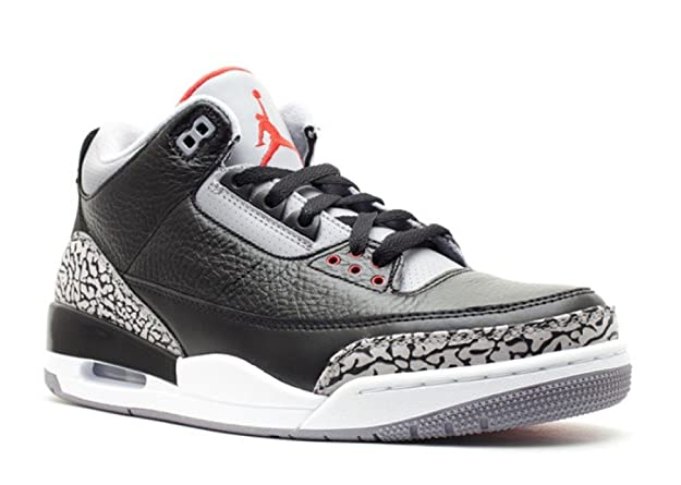 Amazon.com | Nike Air Jordan 3 Retro Black Cement Leather Sneaker | Fashion  Sneakers