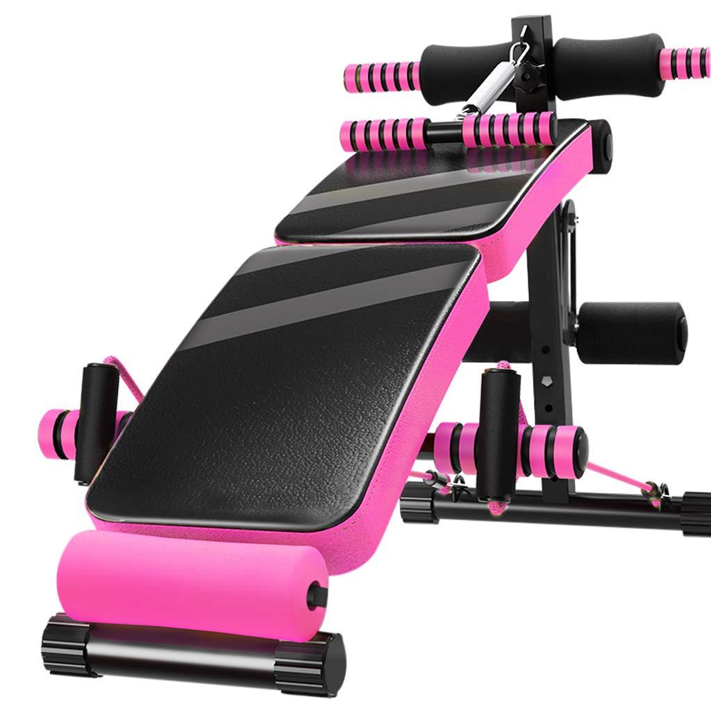 CHS@ 腹筋ボード、ホームフィットネスチェア腹部多機能フィットネス機器折りたたみ式弾性巾着wndスプリングブースター付きキック機能  pink B07QQXDSRM