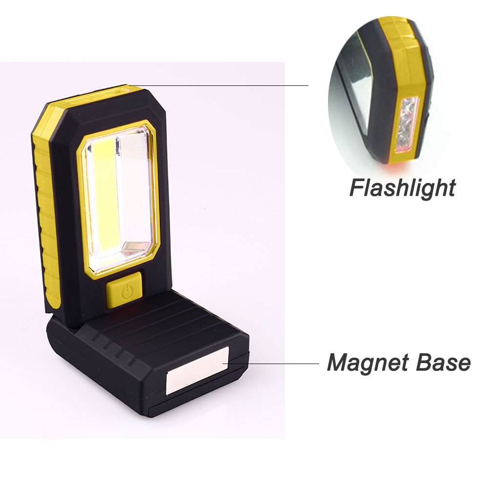 COB LED Work Light Magnetic, Battery Powered, with Flashlight and Stand, Cordless Portable Work Light with Retractable Hanger Black/Yellow iWireless USA