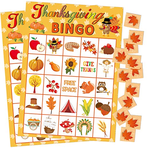 Fancy Land Thanksgiving Bingo Game 24 Players for Kids Holiday Party Craft Supplies (Thanksgiving For The Gift Of A Child)