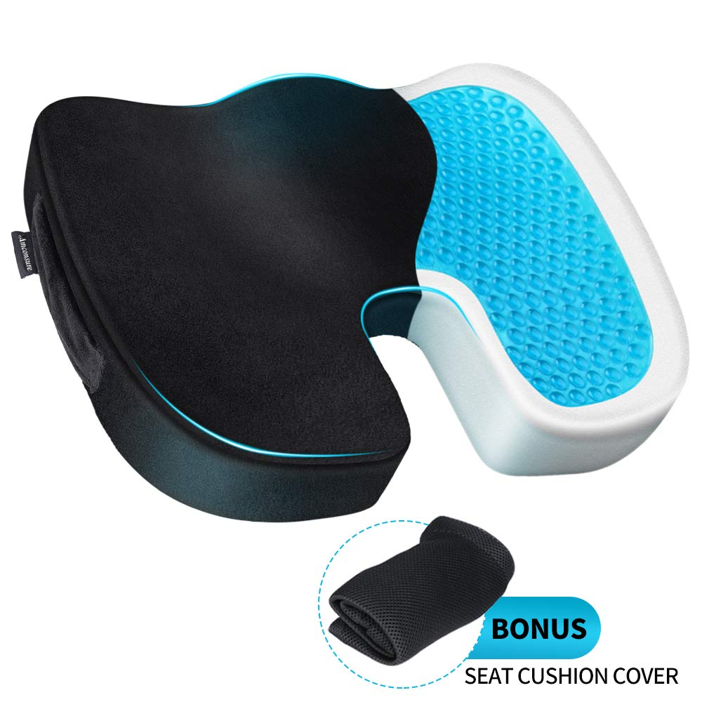 Amconsure Gel Seat Cushion for Office Chair Memory Foam Gel Seat Cushion with 3D Mesh Cover -Ventilated Designed for Back, Hip, and Tailbone Pain - Fits Office Chair, Car Seat and Wheelchair