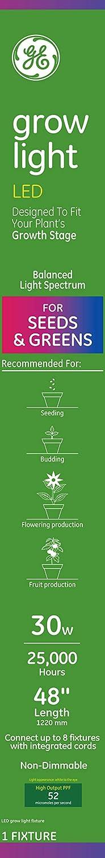 GE Lighting 93101228 30-Watt LED Grow Light Fixture for Indoor Plants, 48-Inch/4-Foot, Balanced Full Spectrum, 48-Inch/4ft