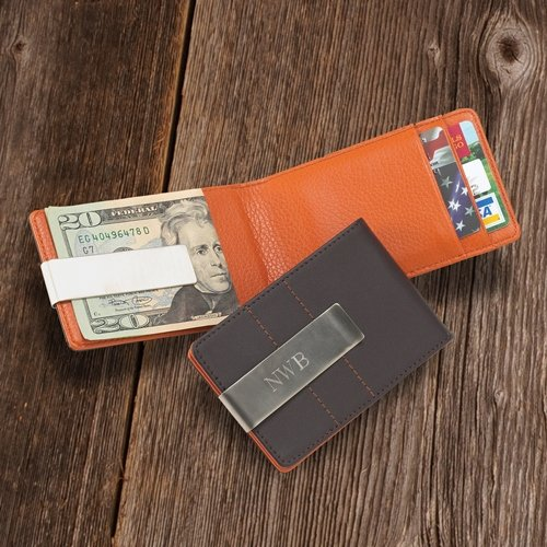 Personalized Metro Smooth Brown Leather Credit Card Wallet Engraved Metal Money Clip Holder Combo - Executive Style