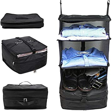 3 Layer Storage Bag Travel Clothes Portable Foldable Luggage Organizer Hanging N