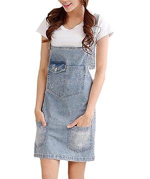 Women A-line Denim Overall Dress