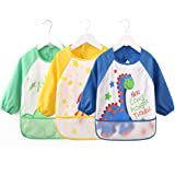Vicloon Waterproof Long Sleeve Baby Bib,Set of 3 Childs Arts Craft Painting Apron with Exclusive Design - Front Pocket for Children Aged 0 – 3 Years