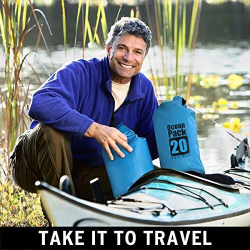 Sacca Impermeabili, Mopalwin sacchetto sec in PVC 500D per Attività all'Aperto e Sport d'Acqua ,Kayak, Canoa, Pesca, Rafting, Nuoto, Campeggio (Blu / 20L )