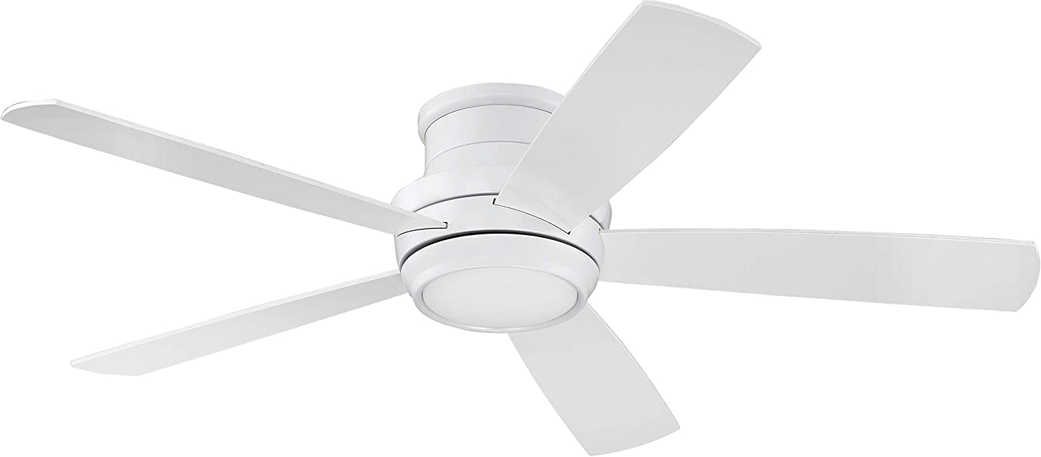 Craftmade Flush Mount Ceiling Fan with LED Light and Remote TMPH52W5 Tempo 52 Inch White, Hugger Fan