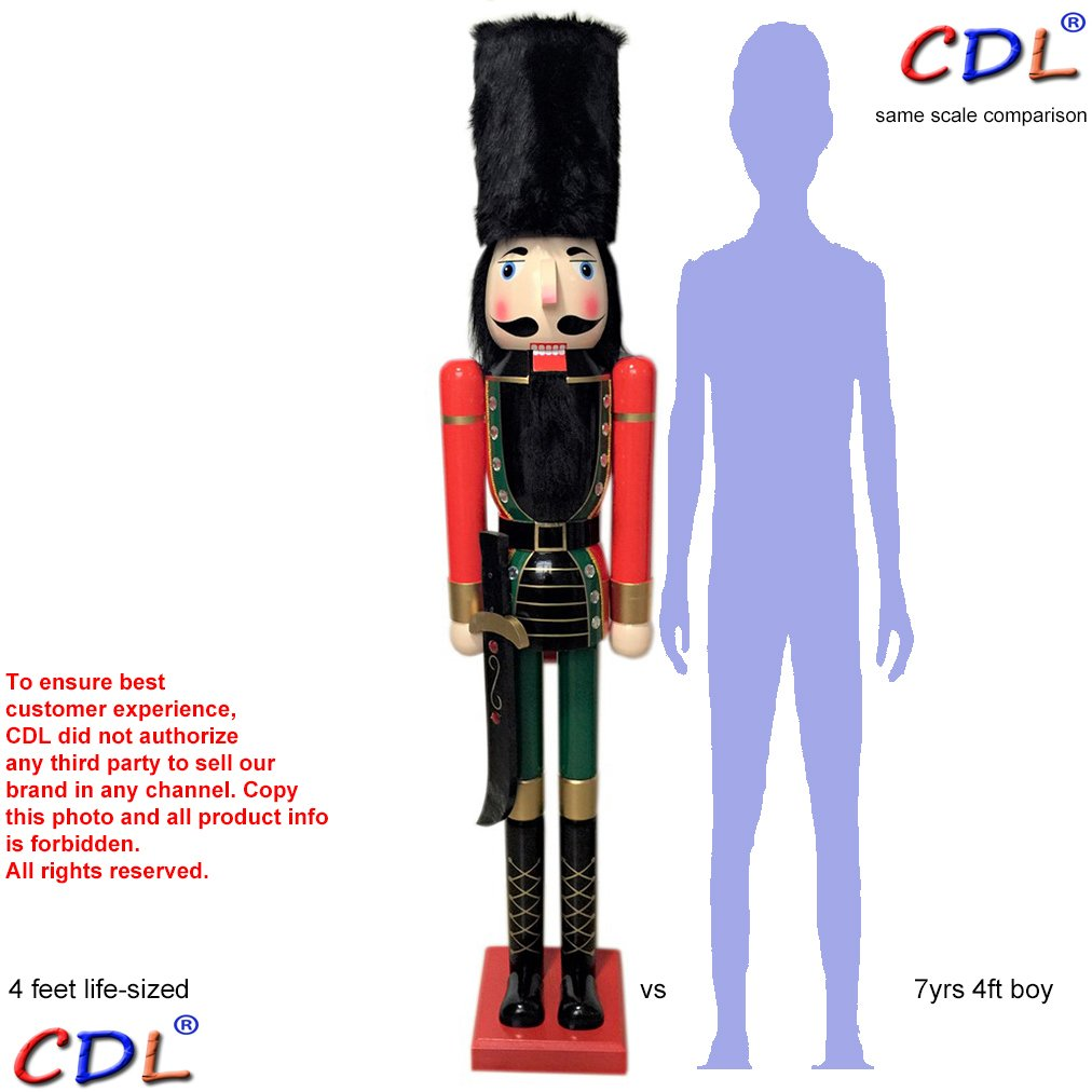 CDL 48'' 4ft tall life-size large/giant Christmas wooden nutcracker fluffy hat soldier ornament on stand holds Scimitar for indoor outdoor Xmas/event/ceremonies/commercial decoration K06