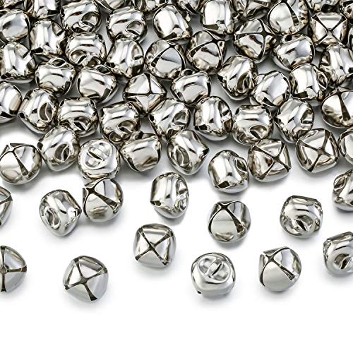 Zhanmai 200 Pieces Jingle Bells, 1/2 Inch Craft Bells, DIY Bells for Wreath, Holiday Home and Christmas Decoration (Silver) (Bell Sleigh Song Christmas)
