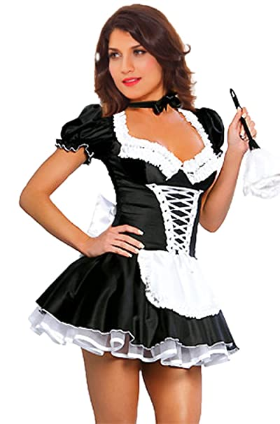 a2edc9141cf JJ-GOGO Womens Black Satin Halloween Fancy French Maid Cospaly Dress Costume