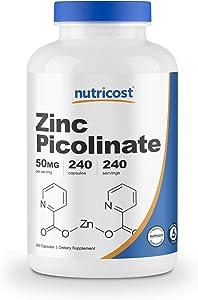 Nutricost Zinc Picolinate 50mg, 240 Veggie Capsules - Gluten Free and Non-GMO (240 Caps)