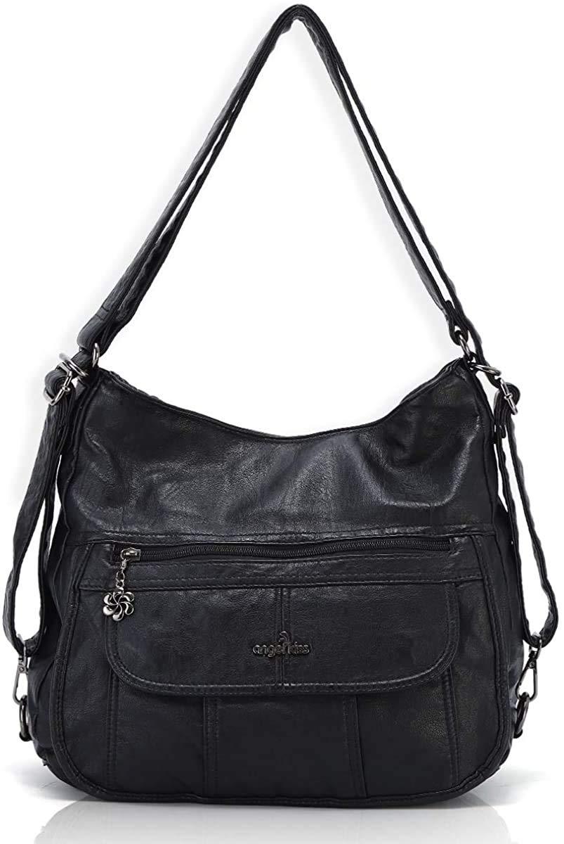 Women Handbags Shoulder Bags Washed Leather Satchel Tote Bag Mutipocket Purse