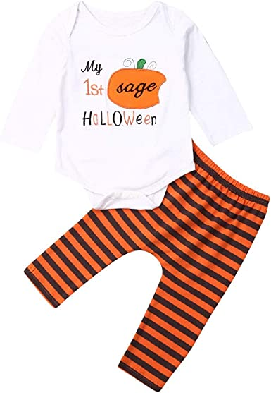 Halloween Newborn Infant Kids Baby Girls Boys Clothes Romper Tops Pants Outfit