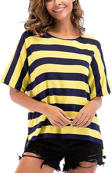Camiseta de Manga Corta en Color Mujer con Contraste - Camisa ...
